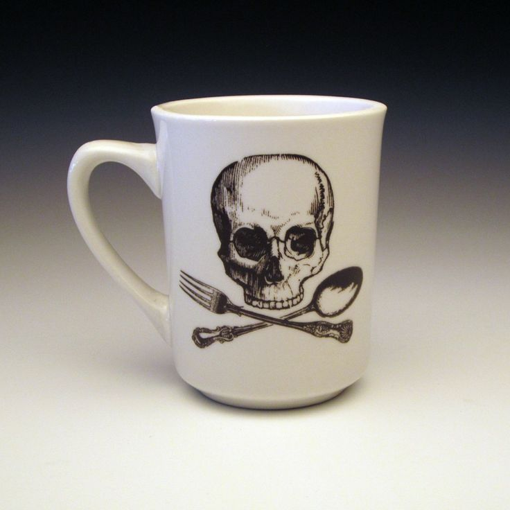 Skull and crossbone...orrr cross fork and spoon mug. lol. In black...of course. :)