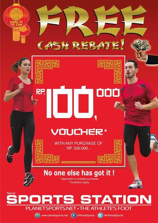 Get lucky when you shop in SportsStation. Shop a minimum of Rp 500.000 and get Free Cash Rebate Rp 100.000!