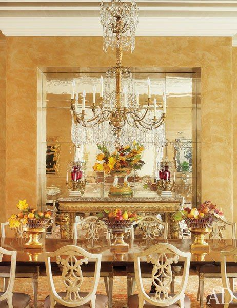 See How Bunny Williams Transformed A 1950s Georgian Style Home In Virginia Gold Dining RoomsDining Room MirrorsDining ChandeliersDining TablesMahogany