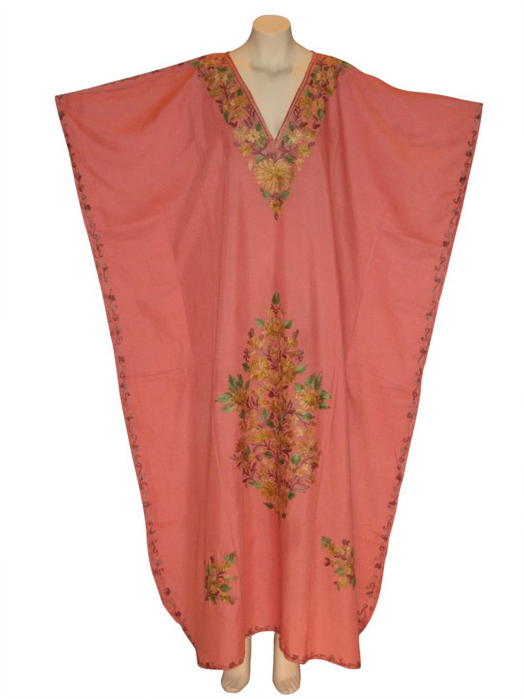 Kaftan Caftan Dress from Kashmir with Ari Embroidery : Coral from Kaftan Connection