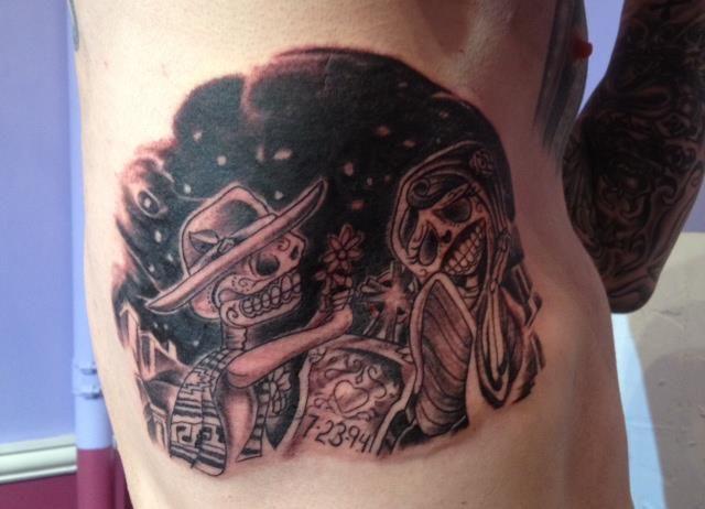 Dia De Los Muertos Side Piece Tattoo - Majestic Tattoo NYC sugar skull tattoo, day of the dead tattoo