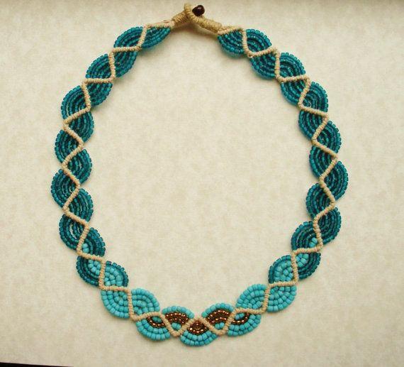 Macrame Seed Bead Necklace  Turquoise por TribeWorks en Etsy