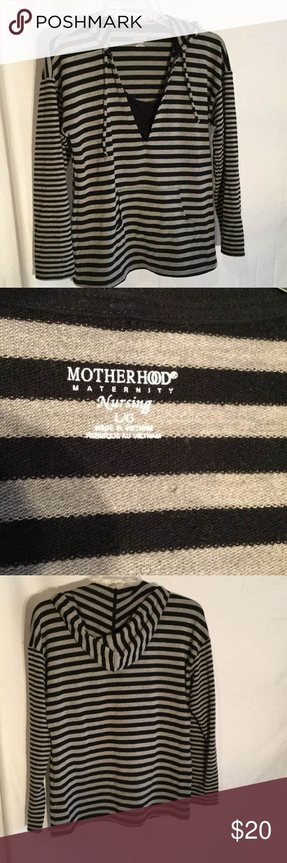 Motherhood nursing grey/blk sweatshirt L Ladies motherhood brand nursing sweatshirt in a grey and black stripe. Very soft with patch pocket details in front that looks cute on a growing belly ,but also hides an after delivery belly . Very versatile color and super useful for the breastfeeding mom. Size L Motherhood Tops Sweatshirts & Hoodies