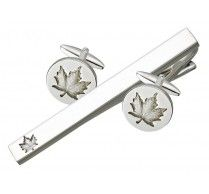 CUFFLINK TIE BAR SET. These unique Canadian maple leaf cufflinks with tie bar can certainly make you feel patriotic! These cufflinks/ tie bar are finished with very high quality of rhodium plating. Cufflink Size: 19 mm round Tie Bar Size: 64 x 7 mm http://www.stunningselection.com/cufflink-tie-bar-set