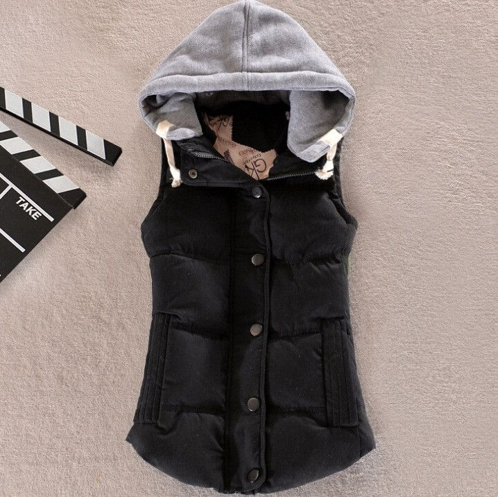 women's cotton wool collar hooded down vest Free shipping Hot high quality Brand New female winter warm Jacket&Outerwear