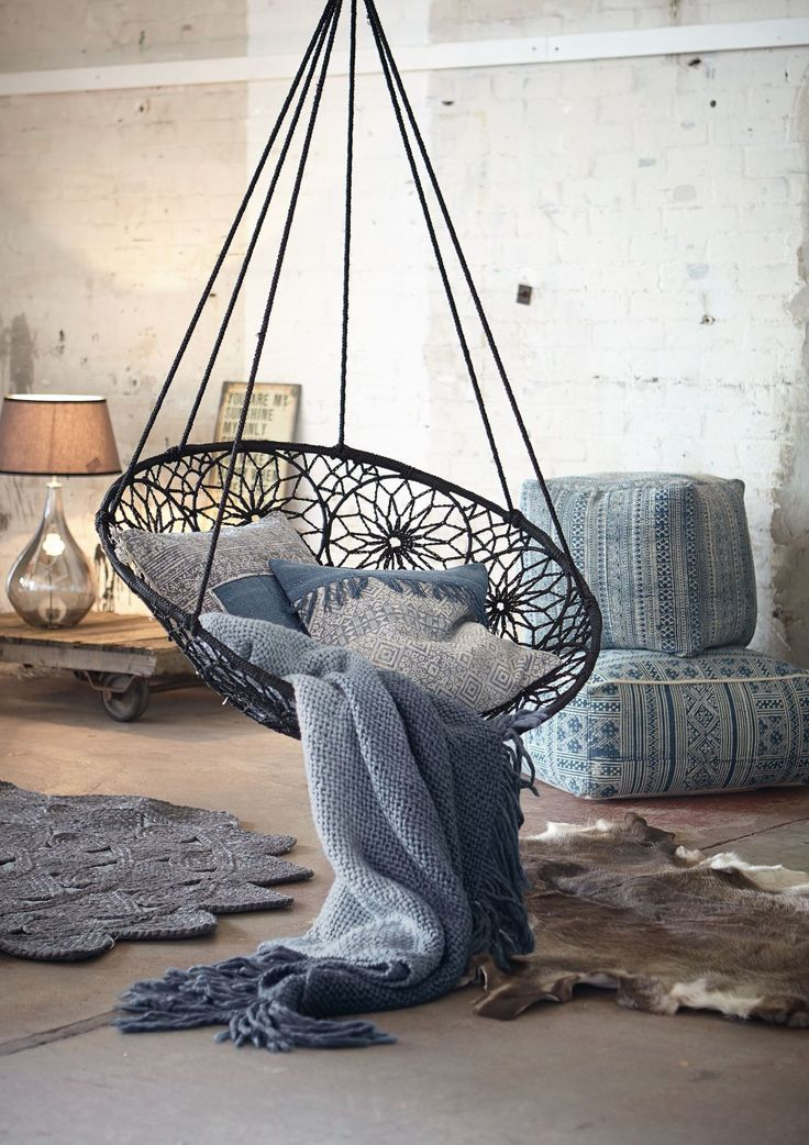 Hängesessel, individuelle Ornamente, Metallgestell, Polypropylen | Sessel | Sitzmöbel | Living