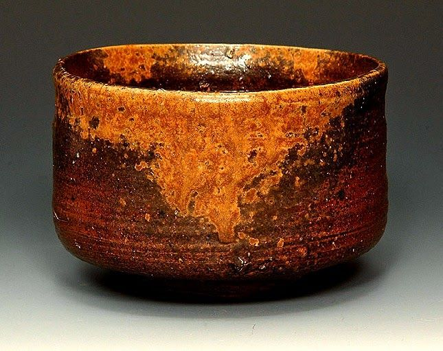 "Ko-bizen chawan. ""That is why I turn to the works of the ancient masters and seek to read their hearts. Nothing makes me happier than to discover, little by little, that I can read the heart of some ancient potter - for I too want my work to be a reflection of the heart. When I succeed in creating a piece straight from the heart, I can't help slapping my knee and thinking ""This is how it was for the ancients!"" * (* A quote from THE ART OF ROSANJIN by Cardozo and Hirano)"