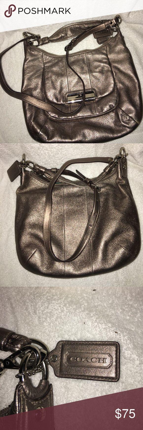 Pewter color Coach hobo bag Excellent condition has handle strap and shoulder strap Coach Bags Hobos