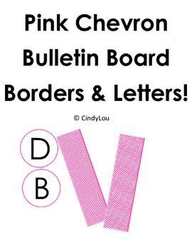 Pink Chevron Bulletin Board Border and Letter Set