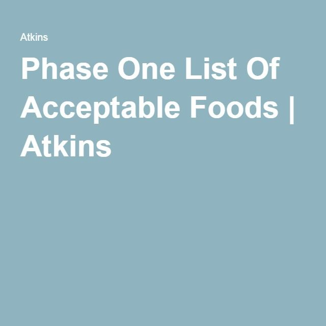 Phase One Food List