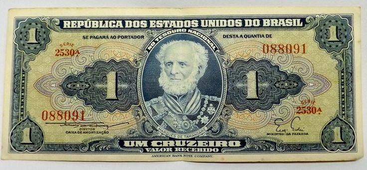 Cédula De 1 Cruzeiro Anos 50 - Brasil - R$ 13,00 no MercadoLivre
