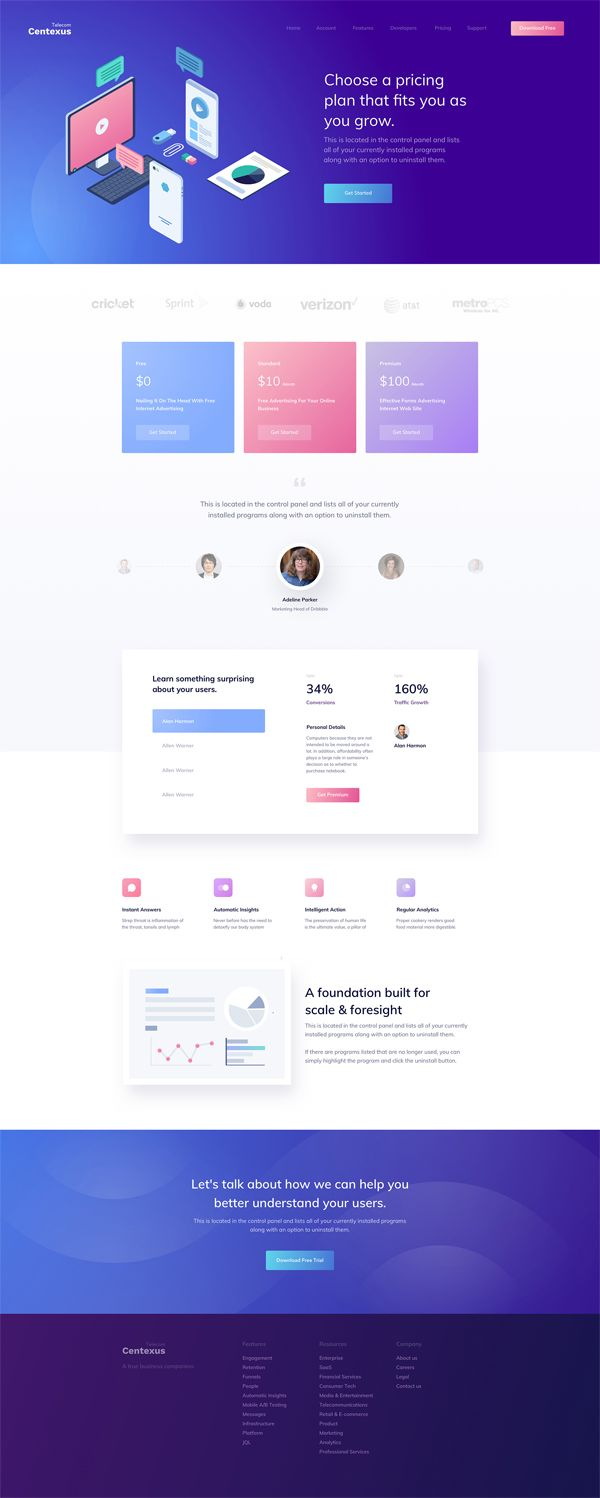 Inner Centexus Full Preview Best Landing Page Design Web Template Design Web Design