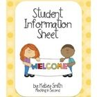 There student information sheets are great to have parents fill out at Open House or Meet and Greet. Help get to know your students a little better...