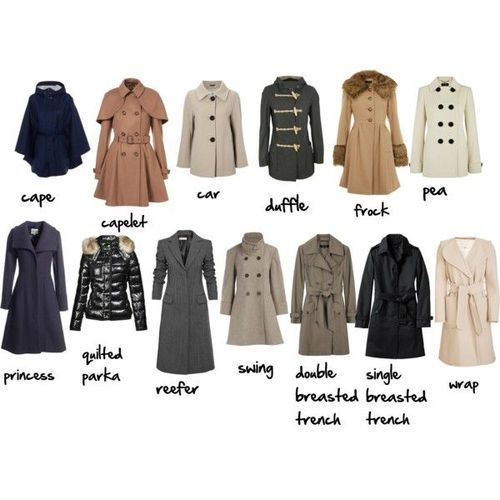 Types of coats ~ I like the long coats and the cape personally