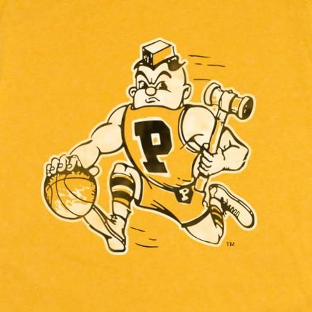 """When this """"dribbling Pete"""" was being used by Purdue University their team was being led by All-AmericanRick Mount. George King coached the 1968-69 Boilermakers to the 1969 Final Four in Louisville, Kentucky where Purdue dominatedNorth Carolina in the semi-final game to set up a National Championship showdown with UCLA and (Purdue alum) John Wooden. Even though Purdue fell short, the 1968-69 teamis remembered as one of the schools best ever. Unisex Shirt - SIZE CHART Cotton&#x2F..."""