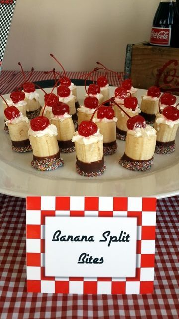 Banana Split Bites very cute! Sprits the bananas with orange juice to keep them from turning brown.