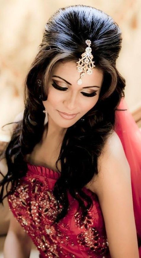 Indian Bridal Hairstyles Half Updo Help Support The Dupatta But