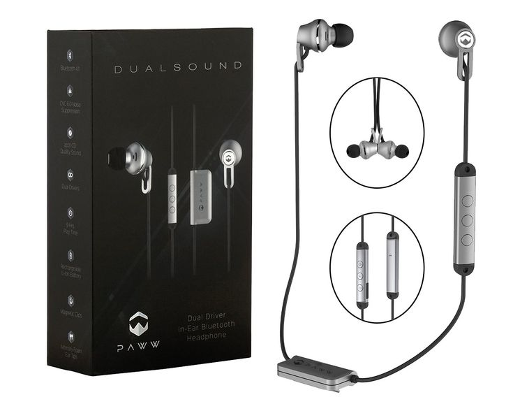 Paww DualSound Wireless In Ear Headphones | Premium Bluetooth 4.1 Memory Foam Earbuds with Dual Drivers, CVC Noise Suppression, aptX Sound, Magnetic Tips & Rechargeable Battery (Silver/Black). BLUETOOTH HEADPHONES: Ditch those clunky headphones and instead pick yourself up the DualSound Wireless Earbuds by Paww! Equipped with 4.1 Bluetooth technology, these wireless in ear headphones can be used to play music, talk show, podcasts, audio instructions and so much more straight from your...