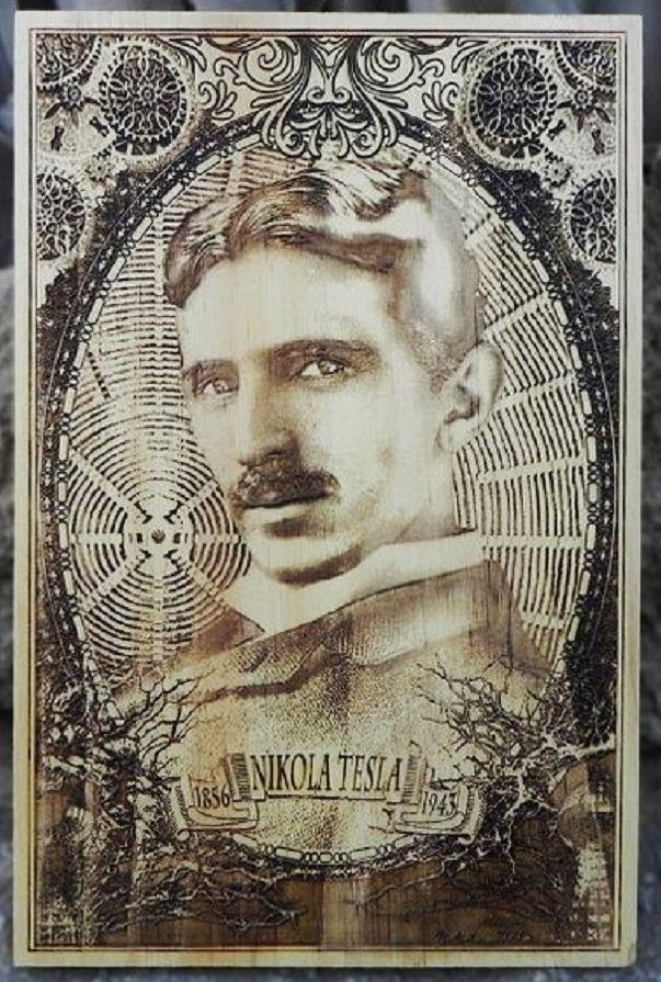 """""""Lo que ahora buscamos es un contacto más próximo y un mejor entendimiento entre los individuos y las comunidades del mundo entero, y la eliminación de esa devoción fanática por los ideales exaltados del egoísmo y el orgullo nacionales que siempre son propensos a zambullir al mundo en el barbarismo primitivo y la lucha."""" Nikola Tesla Portrait Art  Famous Inventor of by Engravers Dungeon"""