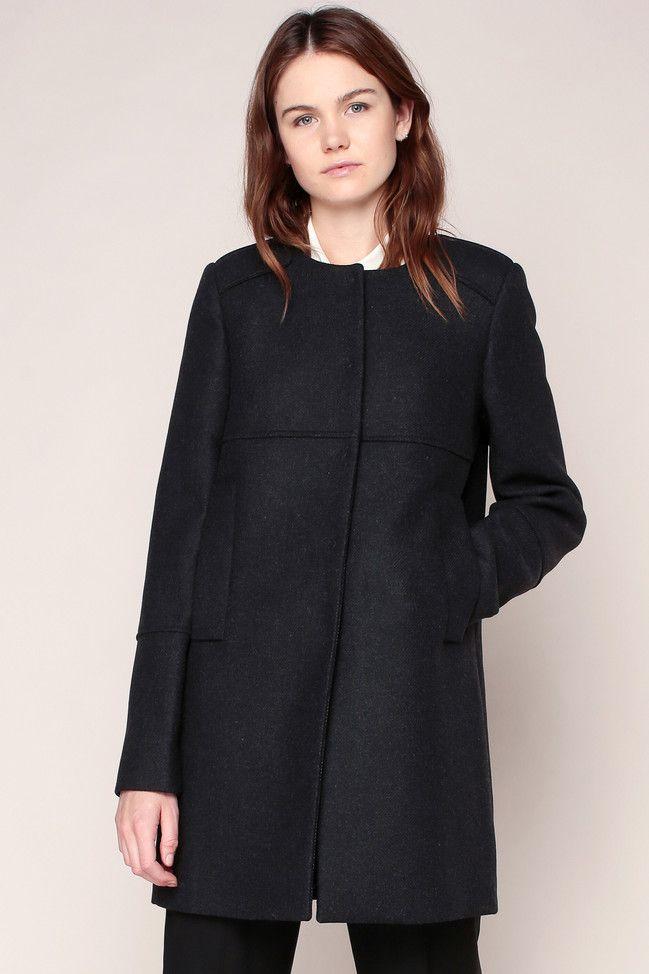 Manteau gris chiné foncé empiècements fantaisies épaules - Tara Jarmon