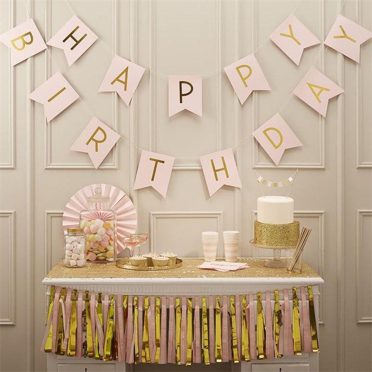Розовый С Днем Рождения Ручной Бумаги Флаги Бантинг Баннер Дети День Рождения Baby Shower Украшения Поставкикупить в магазине Wedding BoutiqueнаAliExpress