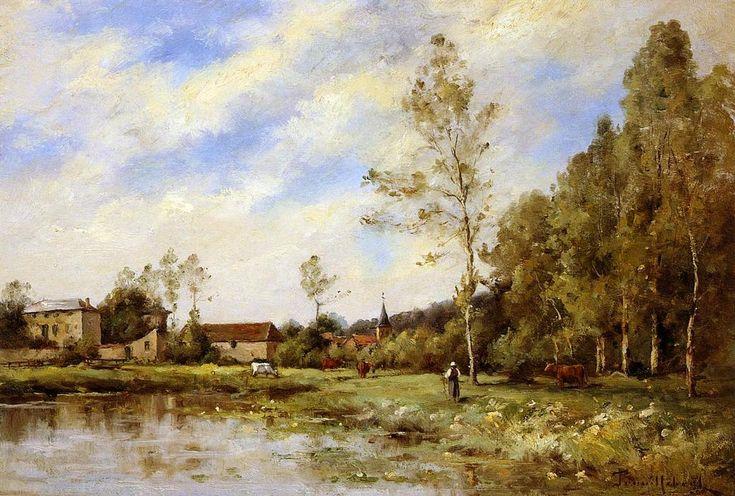 La Prairie Robert, huile sur toile de Paul Désiré Trouillebert (1829-1900, France)