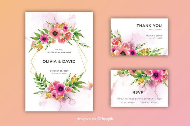 Download Watercolor Floral Wedding Invitation Template For Free Watercolor Floral Wedding Invitations Floral Wedding Invitations Wedding Invitation Templates