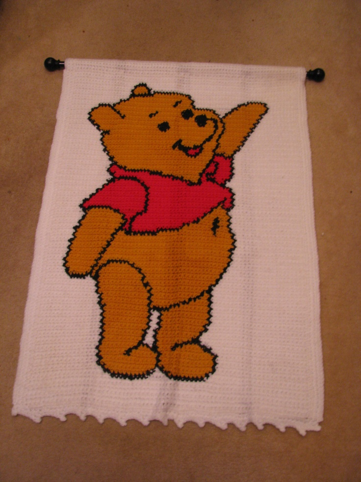 Winnie The Pooh Crocheted Wall Hanging Filet Crochet