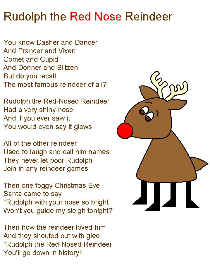 Rudolf The Red Nose Reindeer Lyrics Christmas