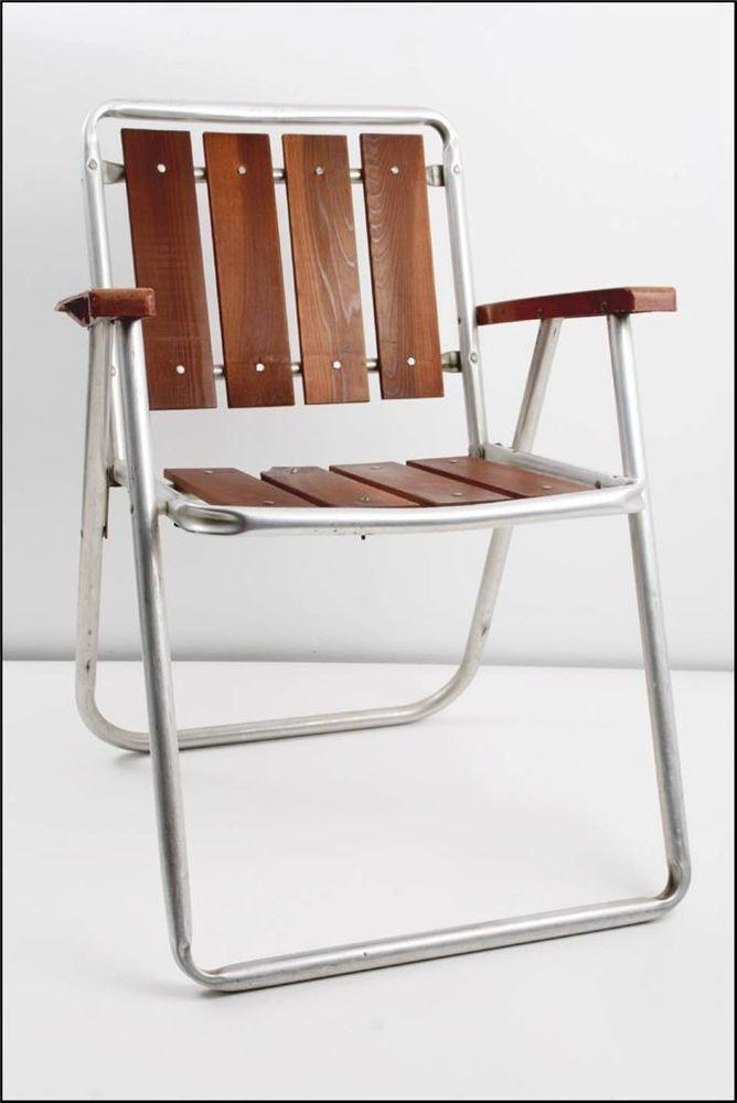 Vtg Redwood Aluminum Folding Lawn Chair Patio Pool Metal