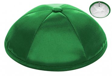 Kelly Green Six-panel deluxe satin kippah. $42 per dozen. Personalization is free with purchase of six dozen or more.