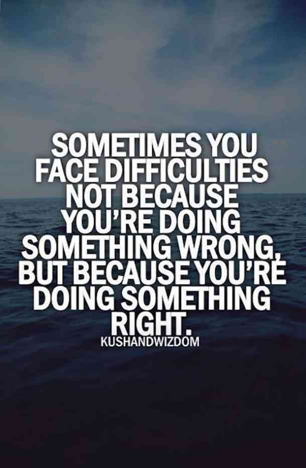 """""""Sometimes you face difficulties not because you're doing something wrong, but because you're doing something right."""""""
