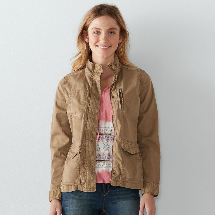 Women's SONOMA Goods for Life™ Solid Utility Jacket, Size: Medium, Med Brown