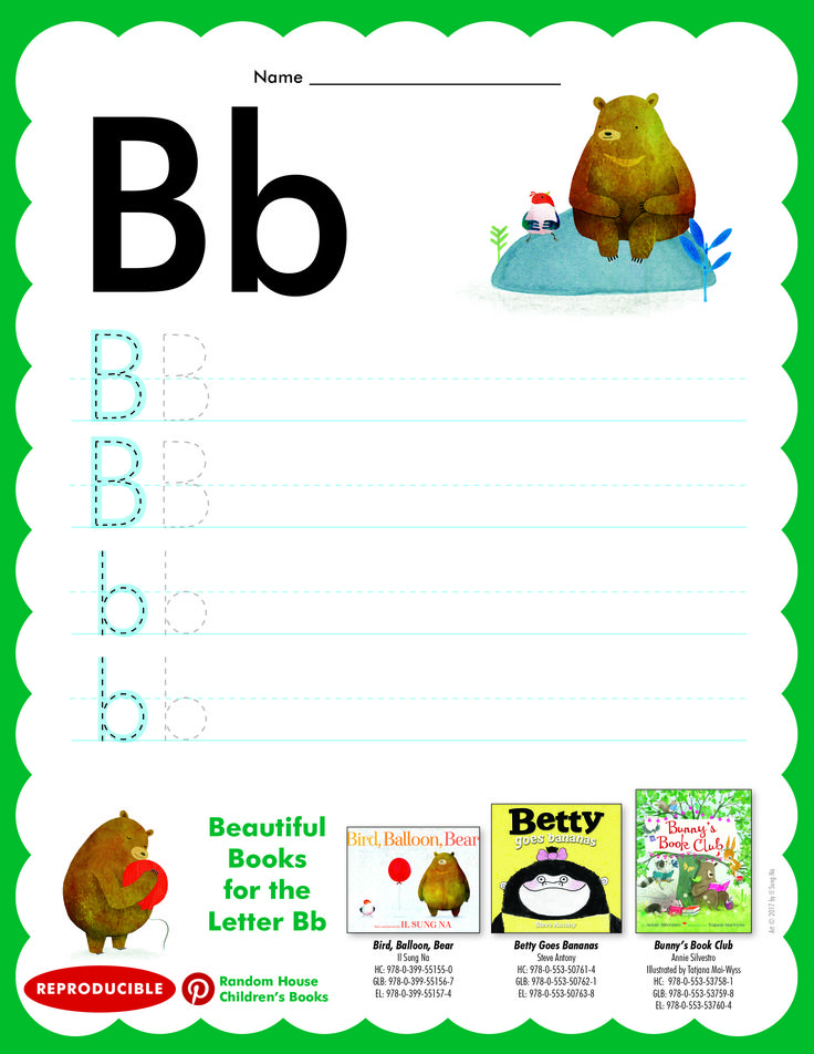 Have students practice writing letter Bb. Then read BIRD, BALLOON, BEAR; BETTY GOES BANANAS, and BUNNNY'S BOOK CLUB.