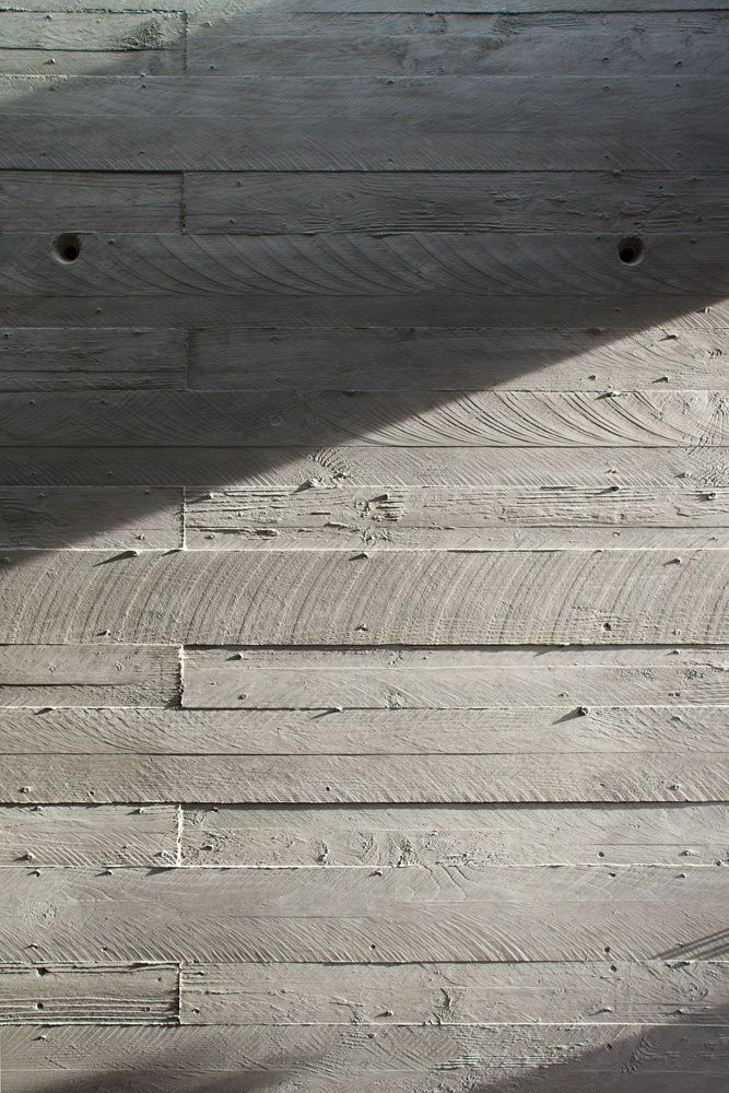 Concrete formed using wood boards