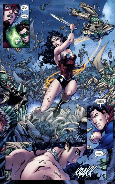 Wonder Woman's first appearance in Justice League.