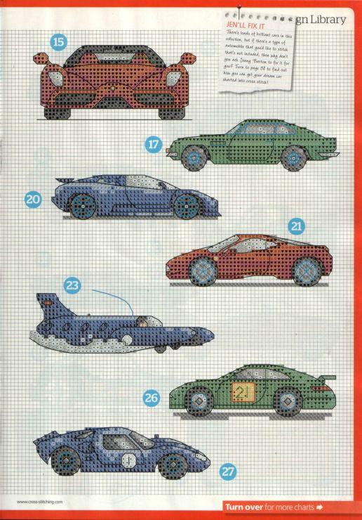 Knitting Cross Stitch Pattern : 27 best images about Biler on Pinterest Cars, Punto de cruz and Punto cruz