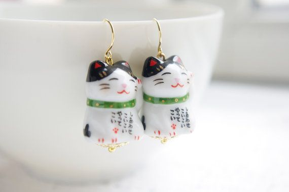 Japanese porcelain fortune cat earrings,with green collar,lucky cat,kawaii,for cat lovers,ceramic porcelain jewellery,lucky Christmas gift