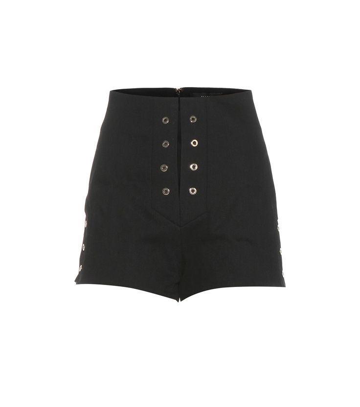 Ellery - Reinking denim shorts - Slip Ellery's Reinking shorts right into your transeasonal edit – this flirty style will look just as good with bare legs as it will with stockings. Crafted from a black cotton twill for a structured look, they are decorated with golden eyelets and white stitching for a lace-up look – minus the lacing. Team yours with a chunky platform to further elongate your legs. seen @ www.mytheresa.com