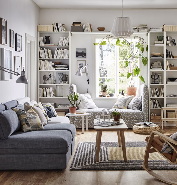 Stunning living room with Ikea Karlstad sofa in Liege Biscuit slipcovers by  Comfort-works.