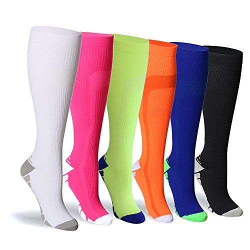 Compression Socks For Women and Men - 20-25mmHg- 6 Pairs BEST Stockings for Running Athletic Edema Diabetic Varicose Veins Travel Pregnancy & Maternity (L/XL Mix2 6 Pairs)