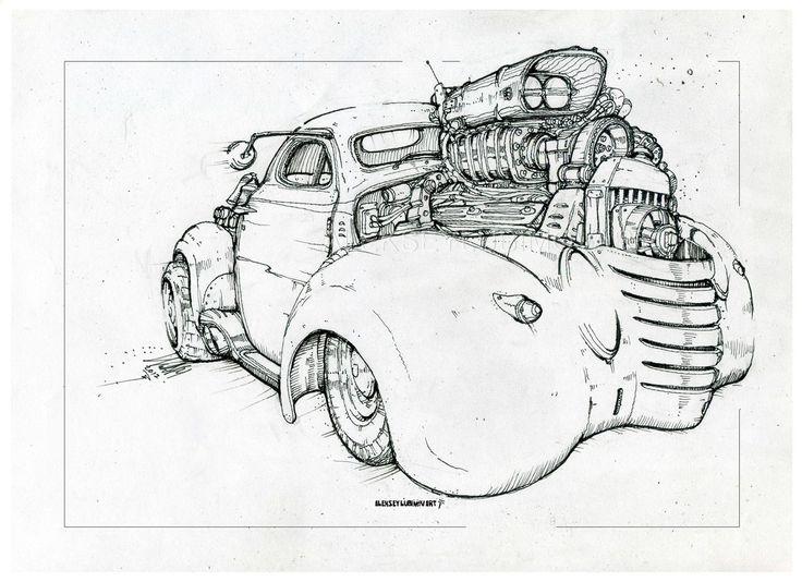 Ratrod/Author Aleksey Lubimov. #алексейлюбимовбиоме.ханика #алексейлюбимов #стимпанк #дизельпанк #биомеханика #marchofrobots #steampunk #dieselpunk #alekseylubimov_art #biomechanical #lineart #engine #ratrod #hotrod