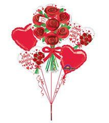 Happy Valentine's Day Red Roses Bouquet Of Balloons Xl