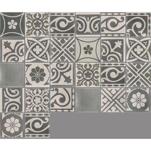 Carreau de ciment intérieur Patchwork PREMIUM, gris foncé et clair, 20 x 20 cm