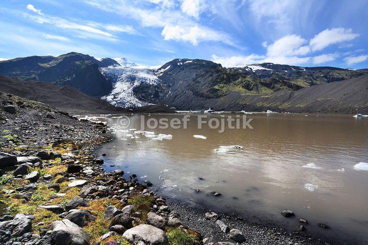 Glacial lake with the Eyjafjallajökull Glacier in the Pórsmörk Valley, Iceland