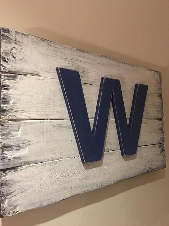 """Chicago Cubs """"Fly The W Flag"""" 22""""x14"""" - 32""""x23"""" Distressed One Of A Kind!"""