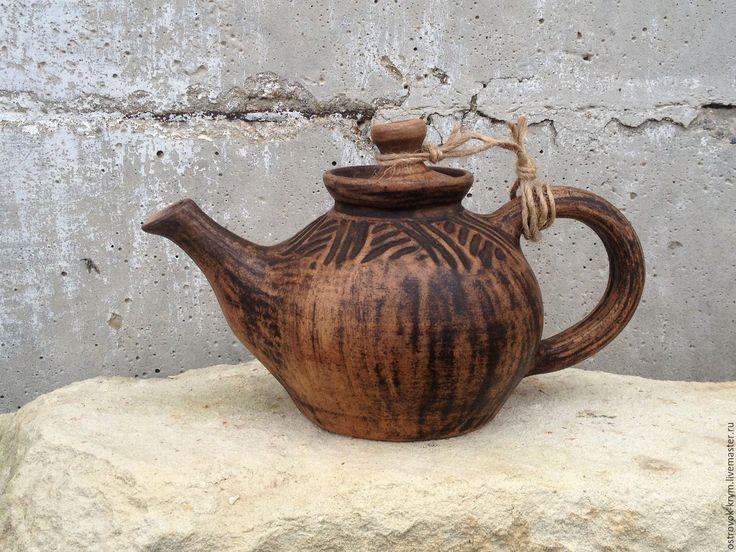 Купить Чайники заварочные из белой глины. Керамика ручной работы. - коричневый, керамический чайник