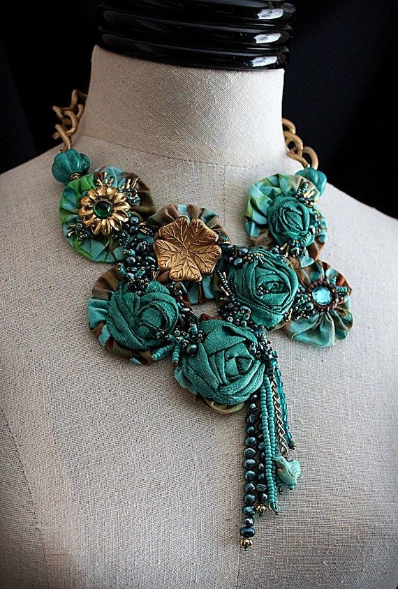 AQUAMARINE Textile Mixed Media Teal Turquoise by Carla Fox design,