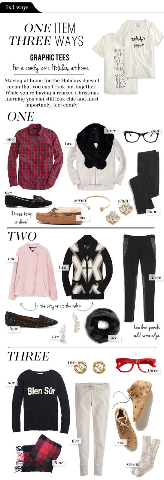 1x3 Ways: Graphic Tees for a Chic-Comfy Christmas Morning