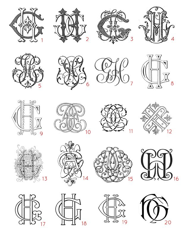 Here are examples of the different styles of monograms I have available in my Etsy shop VintageMonogram. These are all GH monogram designs.